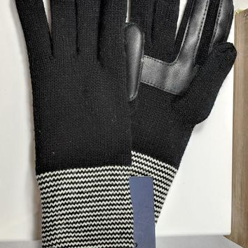 Isotoner Knit Ladies Gloves One Size, Black with Striped Cuff