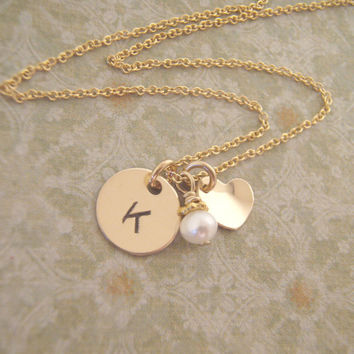 Little girl's initial and heart necklace -Petite gold Initial necklace with heart charm and pearl or birthstone crystal accent