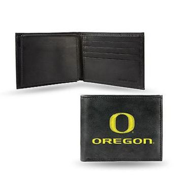 DCCKIHN Oregon Ducks Wallet Premium Black LEATHER BillFold Embroidered University of