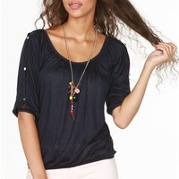 A'GACI Lace Back Button Sleeve Peasant - TOPS