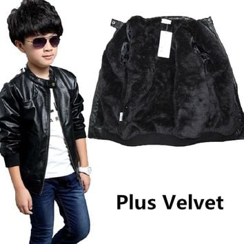 Teenage Boy PU Leather Outerwear Jacket Autumn Winter Kids Casual Clothing Fashion Kids Motorcycle Style Coat Child Cool Clothes