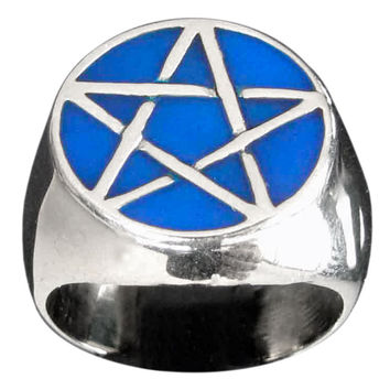 Sterling Silver Pentacle Ring Celtic Pentagram Wicca Symbol with Blue Enamel