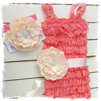 SALE-Coral Petti Lace Romper 3pc Set-Petti Lace Romper with Flower Headband and Sash-Photo Props-SZ 6mo,12mo,18mo,24mo,2T,3T,4T