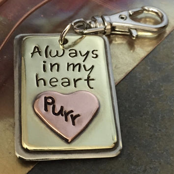 CAT PET MEMORIAL 3-D Tag | Always in my Heart | Custom Hand Stamped Layered Metal Pendant or Pet Ornament | Keychain Zipper | 3DMEM215