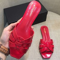 YSL Yves Saint Laurent 2018 chunky heel with women's shoes open toe sandals F-AHD-HNXG-ZD red