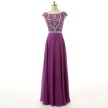Stunning Long Prom Dresses Chiffon Beading Cap Sleeve Scoop Neck A Line Floor Length Party Gowns
