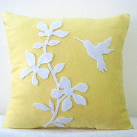 Contemporary Floral With Humming Bird Decorative Yellow Pillow Cover. 16inch Modern Botanical Cushion Cover. New Home Housewarming Gift