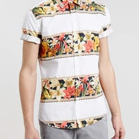 White floral print short sleeve shirt - New In - TOPMAN
