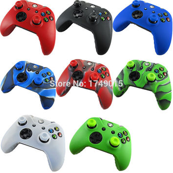 1x Soft Silicone Protective Skin Case Cover + 2x Thumb Sticks Caps Grips for Microsoft Xbox One 1 Wireless Controller