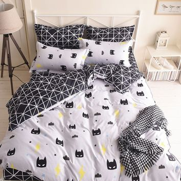 Black And White Cartoon Bedding Pillowcase Duvet Cover Set Quilt Cover Twin Queen King Size
