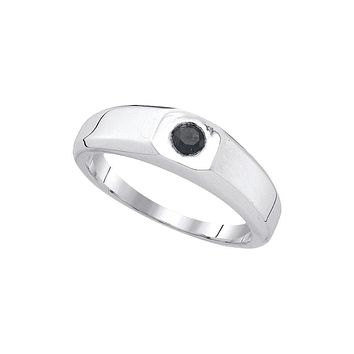 10k White Gold Mens Black Colored Round Diamond Solitaire Wedding Anniversary Band Ring 1/3 Cttw