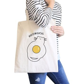 Meowgical Cat And Fried Egg Natural Canvas Bags