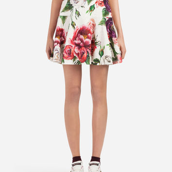 Skirts: pencil & flared skirts - Women | Dolce&Gabbana - PEONY-PRINT BROCADE SKIRT