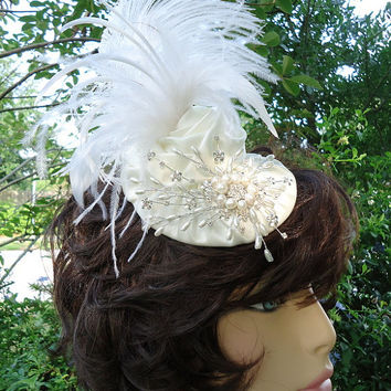 The Sasha - Satin Covered Wedding Hat Fascinator with Ostrich Plumes