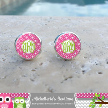 Hot Pink and Lime Monogram Earrings, Monogram Jewelry, Monogram Accessories, Monogram Studs, Monogram Leverbacks, Monogrammed Gifts under 10