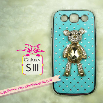 Bling Rhinestone Diamonds Bear Samsung Galaxy S3 case, 3D Cover Samsung Galaxy S3 Case