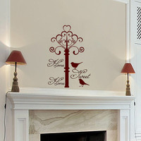 Wall Decals Home Sweet Home   Quote Decal Vinyl Sticker Bird  Decal Home Decor Bedroom Dorm Living Room MN 275