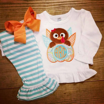Thanksgiving outfit , turkey appliqué outfit , girls Thanksgiving  , striped ruffle pants , monogram turkey appliqué ,