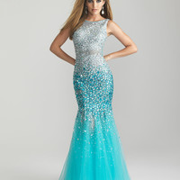 Turquoise Sheer Sequin & Tulle Low Back Mermaid Prom Gown - Unique Vintage - Prom dresses, retro dresses, retro swimsuits.