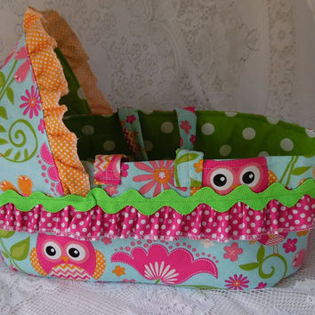 Doll Bed Carrier for Bitty Baby and Similar Dolls, Custom Made Moses Basket Style Cloth Bassinet for Dolls, Your choice of fabric
