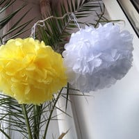 """Set of 6 Tissue Pom Poms Party Decoration Paper Pompoms Tissue Poms Wedding Decorations Ceremony Decor Paper Flower White Yellow 12""""14"""""""