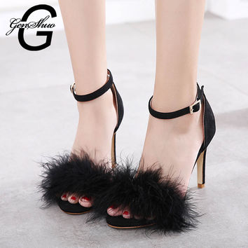 GENSHUO 2017 New Women 10cm/3.94inch Fashion Real Fur Ankle Strapy High Heel Sandals Women Shoes Summer Shoes Fur Sandals