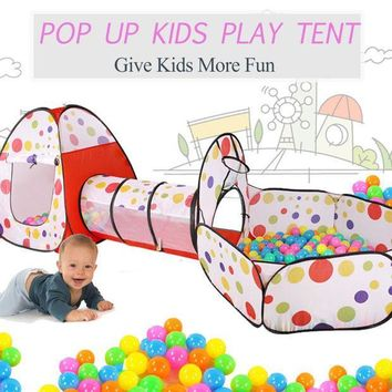 ICIKL3Z New Portable 3 In 1 Kids Children Indoor Outdoor Play Tent Tunnel Ocean Ball Pit Toy Funny Toy Tents For Children