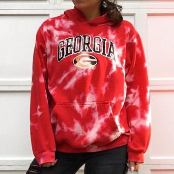 Custom Reverse Dyed Vintage Georgia Adult S Unisex Hoodie // Acid Wash UGA Adult Small Hooded Sweatshirt