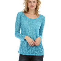 BLUE ZEBRA BURNOUT LONG SLEEVE TOP T4457 - Medium