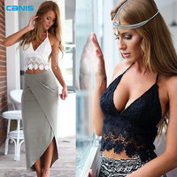 Summer Women Halter Neck Crop Top Knit Crochet Lace Deep V Neck Spaghetti Strap Backless Camisole Bralette Beachwear