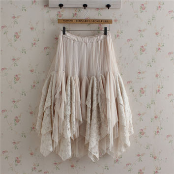 Spring Japanese Women Cute Sweet Loose Solid Bottoming Lace Cake Ruffle Lolita Kawaii Female Princess Skirts Mori Girl U143
