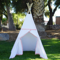 Pompom canvas kids teepee/canvas Play tent / Tipi Wigwam or Playhouse  with poles and Door Ties