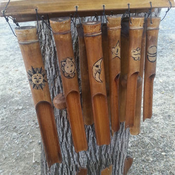 Bamboo Wind chime/ Astrology/ Sun & Moon/ Wind chime/ Music/ Outdoor Decoration/ Gift/ Vintage/ Bamboo