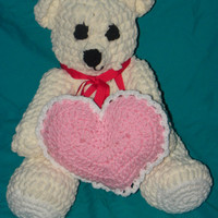 crochet valentine's day teddy bear with a heart