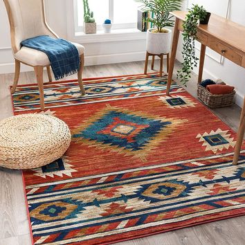 7043 Red Tribal Contemporary Area Rugs