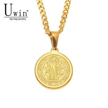 UWIN Hip Hop Saint Benedict Pendant&Chain Flat Round Stainless Steel Trendy Rock Punk Catholicism Necklace Men Jewelry Gift