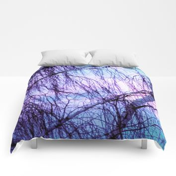 Black Trees Periwinkle Lavender Sky Comforters by WhimsyRomance&Fun