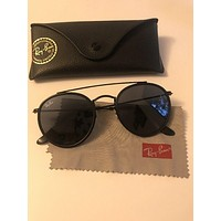 Ray-Ban RB3647N Round Double Bridge Sunglasses - Black MSRP $163