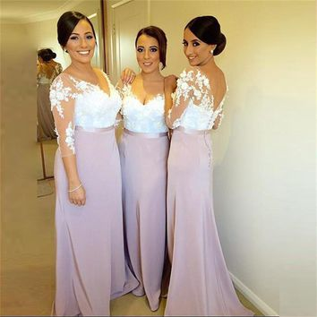 2017 Cheap Half Sleeve Satin Bridesmaid Dresses V Neck Appliques Lace Mermaid Plus Size Maid of Honor Dress Wedding Party Gown
