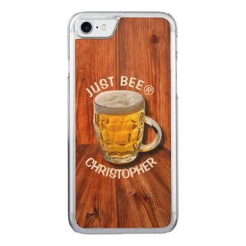 Glass Pint Beer Mug With White Head With Your Text Carved iPhone 7 Case