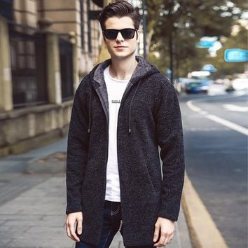 2018 winter new men's thick sweater and velvet jacket youth hooded long sweater
