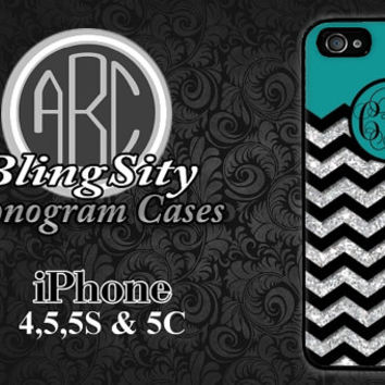 Monogrammed iPhone 4 5 5C 6 Plus Case Turquoise Black Chevron Glittery Personalized Cover Ipod Touch Rubber Silicone Not Actual Glitter