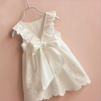Baby Girls Dress Brand Summer Beach Style Ruffle Party Back Bow Dresses For Girls Vintage Toddler Girl Clothing 2 to 8 Years