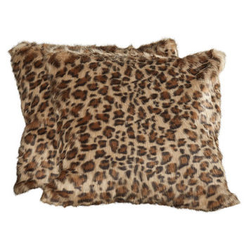 Mercer41 Barnsley Faux Fur Leopard Print Suede Throw Pillow (Set of 2)