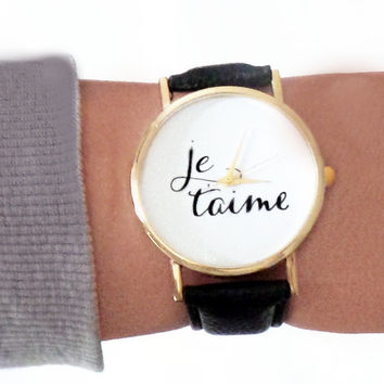Simple Womens Watch / Je T'aime Watch / Stacking Watch / Vegan Leather Watch / Wrist Watch