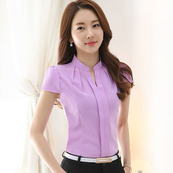 Chiffon blouses  Fashion Summer Slim women chiffon shirt Elegant Solid color Short Sleeve women tops Plus size blusas