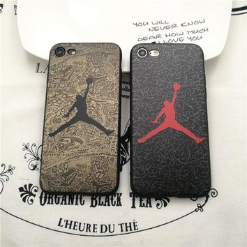 Luxury Brand Logo Jordan Sole All Protective Soft leather case for iPhone 6 6S Plus 7