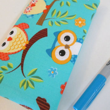 Cute Owls Checkbook Cover, Women's Checkbook Wallet, Checkbook Holder, Sewn in Elastic, Checkbook Cover with Pockets,  Owls
