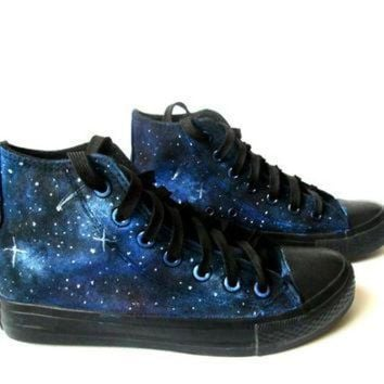 DCKL9 Custom handpainted galaxy sneakers,personalized shoes, galaxy converse, galaxy vans