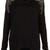 Knitted Pointelle Detail Top - Knitwear  - Clothing